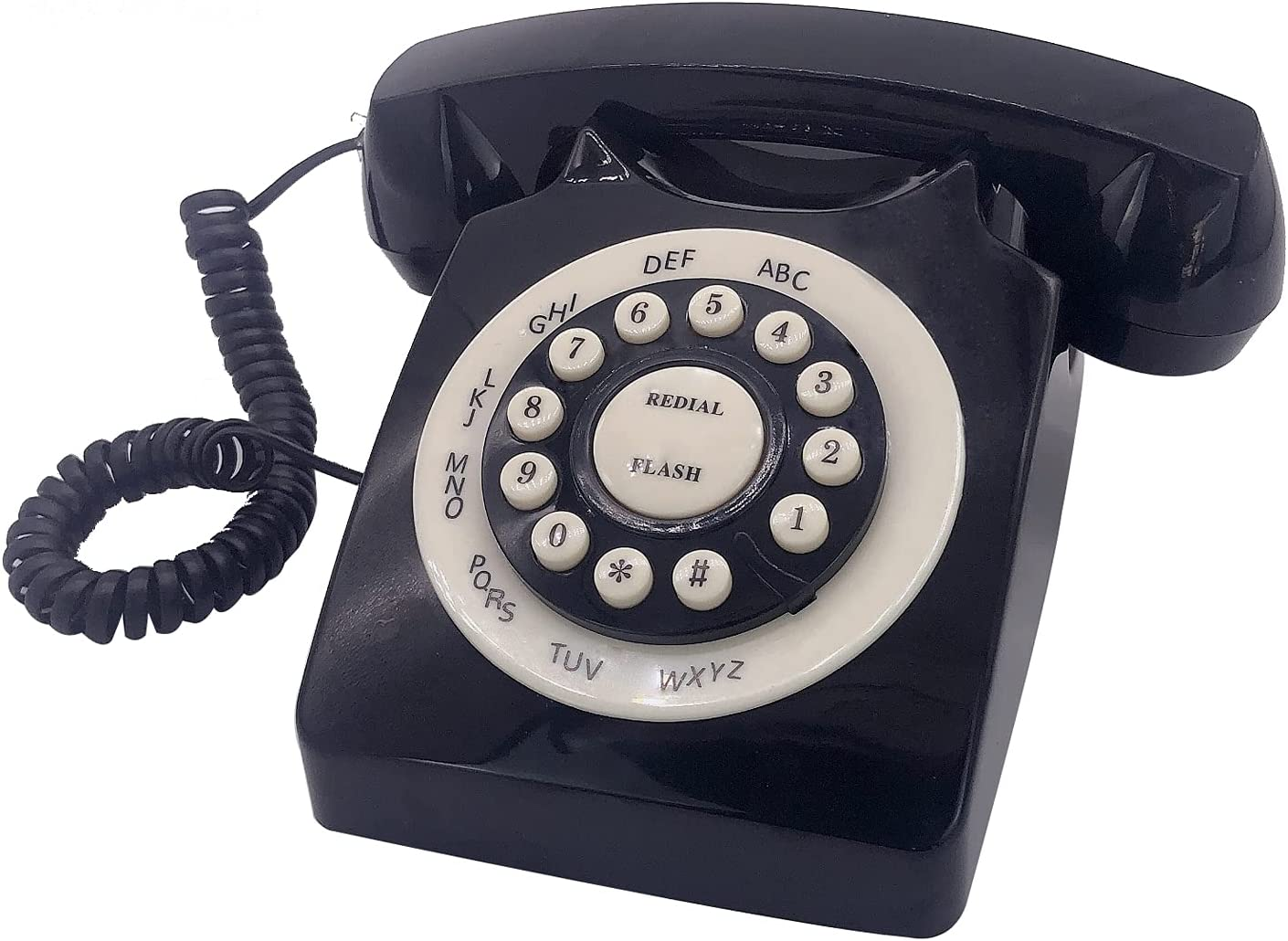 Beneno Black Retro Landline Telephone Classic Rotary Design Old Fashioned Corded Desk Phone with Ringer for Home and Office, Basic 80s Phones for Senior People