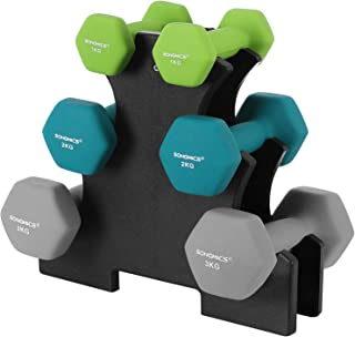 SONGMICS Juego de Mancuernas Hexagonales con Soporte - 2 x 1 kg, 2 x 2 kg, 2 x 3 kg, Verde Claro, Verde Agua, Gris, Neopre...