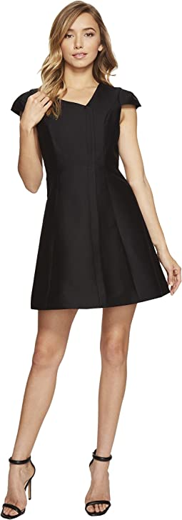 Cap Sleeve V-Neck Silk Faille Dress