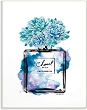 The Stupell Home Décor Collection Watercolor Fashion Perfume Bottle with Blue Flowers Wall Plaque Art, 10 x 15, Made in US...