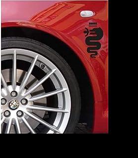 myrockshirt 2 x Alfa RomeoAufkleber Logo Kotflügel 15 cm Tuning Aufkleber Sticker Decal `+ Bonus Testaufkleber Estrellina Glückstern®, gedruckte Montageanleitung