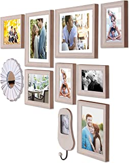Art Street - Gallery Wall Set Set of 8 Individual Beige Wall Photo Frames with Decorative Mirror & Hanging Photo Frame (Mi...