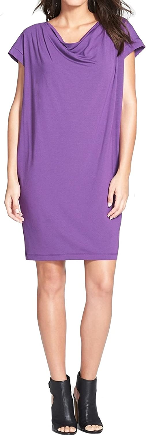 Eileen Fisher Women's Drape Front Shift Dress (African purple, XSmall)