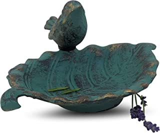 WHW Whole House Worlds Country-Style Outdoor Garden Bird Bath, Soap Dish with Bird, Cast Iron, Rustic Green Blue Patina, Artfully Detailed, Footed Base, 7 L x 6 W x 3 H Inches