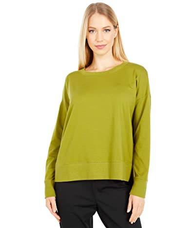 Eileen Fisher Organic Cotton Stretch Jersey Crew Neck Top Hi-Low Top (Mustard Green) Women
