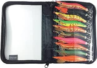 オルルド釣具 夜行エギルアー 「エギルドA」 10カラーセット 6サイズ(2/2.5/3/3.5/4/4.5号) エギング用 蛍光餌木 収納ケース付き イカ釣りに qb100144