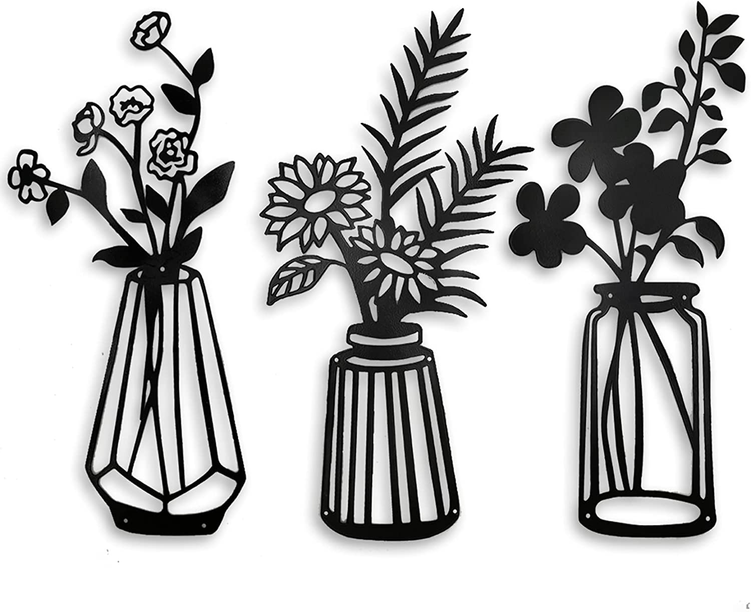Set of 3 Metal Flowers Wall Decor, Metal Wall Sculpture for Patio Balcony Fence Yard Garden, Black Metal Wall Decor Art for Living Room Bathroom Bedroom Dining Room Kitchen.
