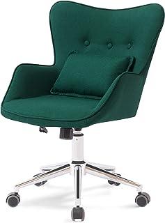 SYALEN オフィスチェア デスクチェア パソコンチェア 椅子 昇降機能付き 腰クッション付き お洒落 インテリア ファブリック 布生地 ダークグリーン SLCH-01DGN