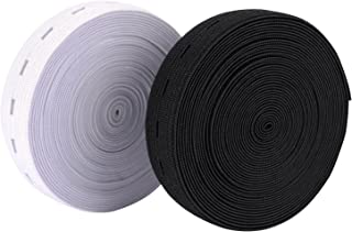 Outus 11 Yard Elastic Bands Spool Sewing Band Flat Elastic Cord with Buttonhole, 2 Pack, 5.5 Yard of White and 5.5 Yard of Black (3/4 Inch)