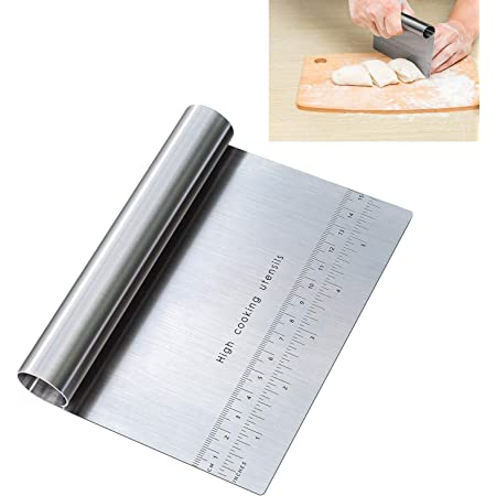 Stainless Steel Pizza Dough Scraper Cutter Kitchen Pastry Cake Tool Scale #8Y