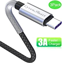 Compatible with Samsung Galaxy S9 S8 Plus Charger (3A Fast Charging), 3 Pack TPE USB C Cable 6ft,USB A to Type C Replacement for Samsung S10 Note 10 9 8, LG V50 V40 G8 G7 Thinq, Moto Z