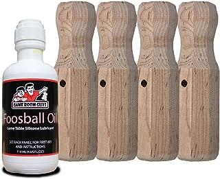 Game Room Guys Tornado Wood Foosball Handles and Foosball Oil - Set of 4 Handles