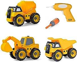 مجموعه ای از 3 ساخت من از اسباب بازی های کامیون ساختمانی جدا کنید - کامیون کمپرسی ، کامیون سیمانی ، بیل مکانیکی برای تلفن های موبایل - آموزشی آن را خودتان وسایل نقلیه با مته باتری بسازید