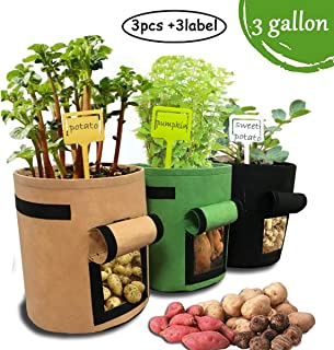 JOYHILL 3 Pcs 3 Gallon Garden Boxes, Easy to Harvest, Planter Pot with Flap and Handles, Garden Planting Grow Bags for Potato Tomato and Other Vegetables, Breathable Nonwoven Fabric Cloth