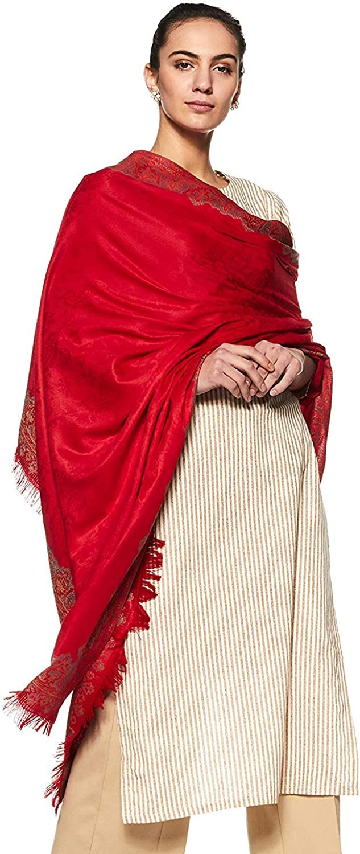 Large Size: 40 X 80 Weavers Villa Womens Pashmina Wool Blend Indian Handicraft Woven Shawls Wraps Scarf