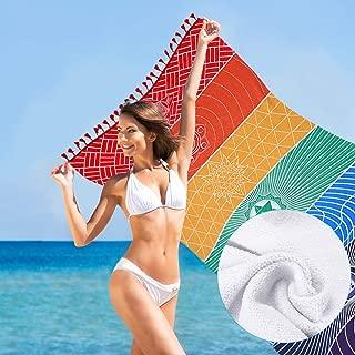 Jeteven Toalla de palya algodón Tapiz de meditación Pareo Tapiz Decorativo con Estilo Chakras para Playa casa Parque dormidorio 150 * 75