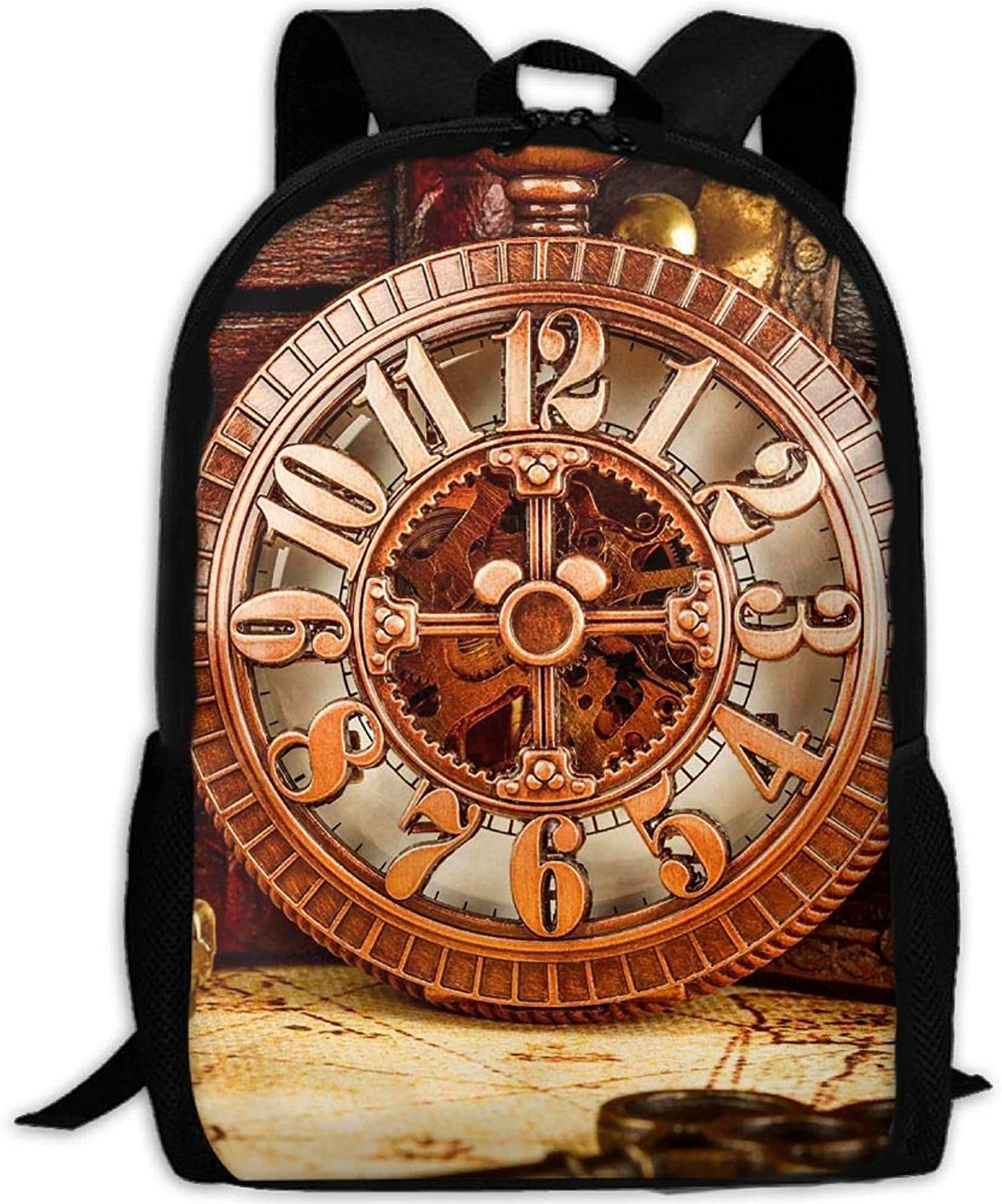 Adult Backpack Old Time Watches College Daypack Oxford Bag Unisex Business Travel Sports Bag with Adjustable Strap