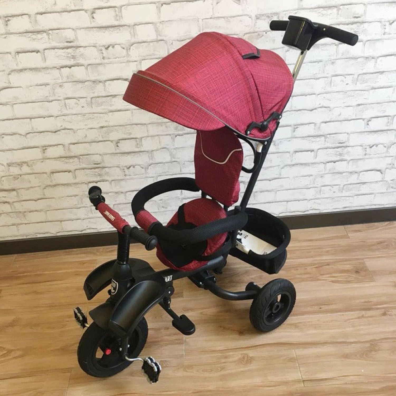 precioso QXMEI Cochecito De Bebé Plegable Plegable Plegable del Triciclo De Los Niños del Coche del Niño del Triciclo con El Toldo,rojo  tienda en linea