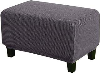 Weichuan - Funda para taburete, cuadrada, para reposapiés, elástica, para sofá, taburete, reposapiés, reposapiés, color gr...