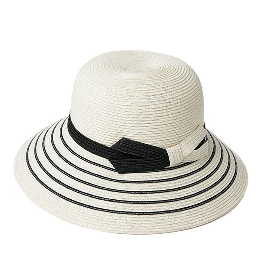 子音同情的自治的女性の麦わら帽子 夏の屋外ファッション折りたたみ日焼け止め旅行バイザーUV保護スタイリッシュな通気性の縞模様の麦わら帽子 スタイリッシュで通気性があり快適 (Color : White)