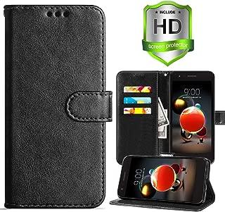 LG Aristo 3/LG Aristo 2/Aristo 2 Plus Wallet Case,Rebel 4 LTE/Tribute Empire/Dynasty/Zone 4/Phoenix 4/Risio 3/K8 2018/ K8 Plus/Fortune 2 Case,PU Leather Cover w Card Slots/Screen Protector,Black