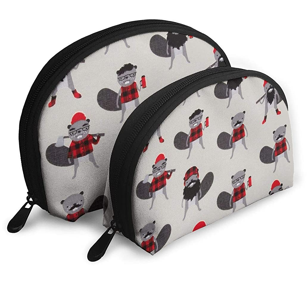 XINLLPO Burly Beavers Flannel Collage Iron Portable Cosmetic Bag,Toiletry Bag,Mini Travel Cosmetic Bag,Portable Waterproof Makeup Pouch Tote Organizer Bag Women Girls