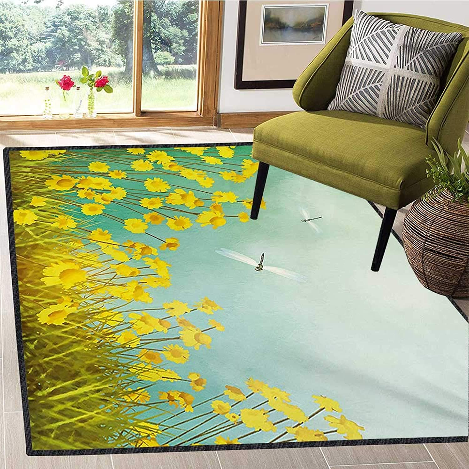 Dragonfly, Door Mats for Inside, Flourishing Artistic Landscape with Daisies on Grass and Dragonflies in The Air, Door Mat Indoors Bathroom Mats Non Slip 5x6 Ft Green Yellow