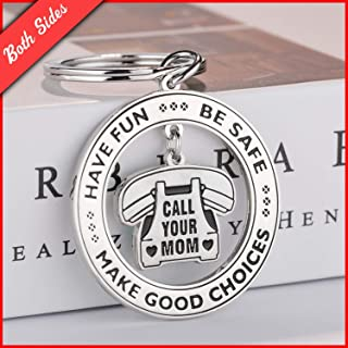 Have Fun, Be Safe, Make Good Choices and Call Your Mom, Stainless Steel Daughter Son Keychain Gift, New Driver or Graduation Christmas Key Ring Gifts by TERAVEX
