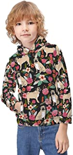 Kid's Novelty Sweater Puppy Floral Flowers Hooded Hoodies Unisex Boys Girls Pullover Sweatshirt-