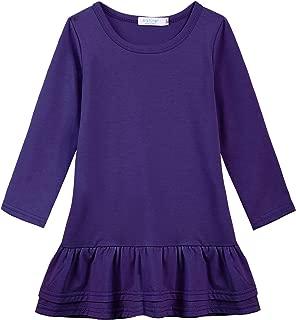 Little Girls Long Sleeve Dress Ruffle Solid Color Tunic School Dress 1-12 Years