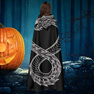 APOJDSN Ouroboros Takeshi Kovacs Tattoo Altered Carbon Unisex Christmas Halloween Witch Knight Hooded Robe Vampires Cape Cloak Cosplay Costume