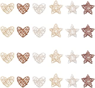 24pcs Wicker Rattan Heart and Star Decorative Balls Vase Fillers Orbs DIY Handmade Ornaments for Home Decor Wedding Party ...