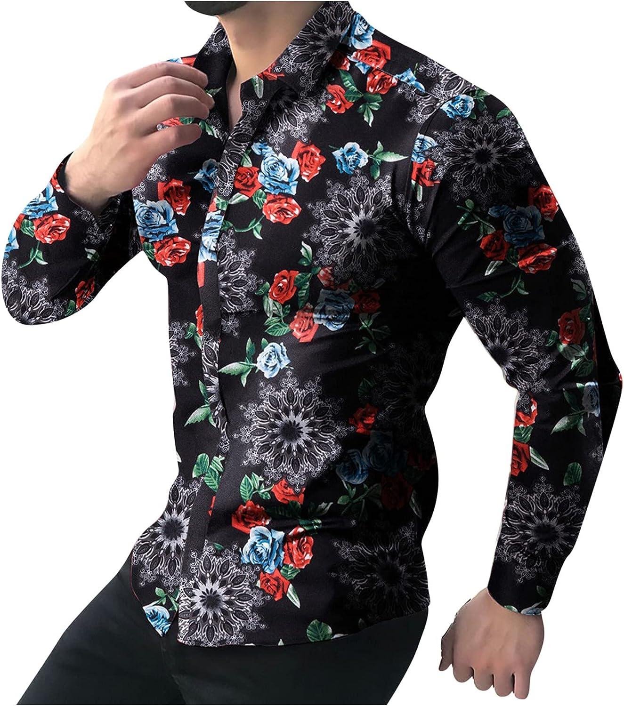 Men Long Sleeve Shirts Fashion Floral Printed Shirts Casual Turn Down Collar Tops Blouse Men Business Shirts