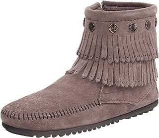 gray minnetonka fringe boots