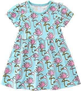 Arbag Baby Girls' Casual Dress Summer Cartoon Print Short Sleeve Dress