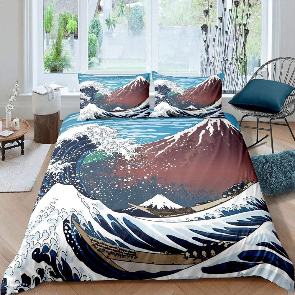 Japanese-Style safety Bedding Set Sea Wave Duvet A Teen for Queen Cover Free shipping anywhere in the nation