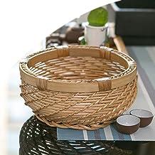 MAHFEI Round Woven Bread Roll Basket, Retro Style Egg Basket Table Fruit Basket Snack Storage Basket Storage Basket Kitche...
