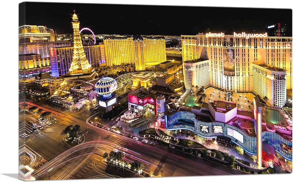 ARTCANVAS Memphis Mall Las Vegas Strip Casinos at Canvas Night Print Art - 26 Very popular