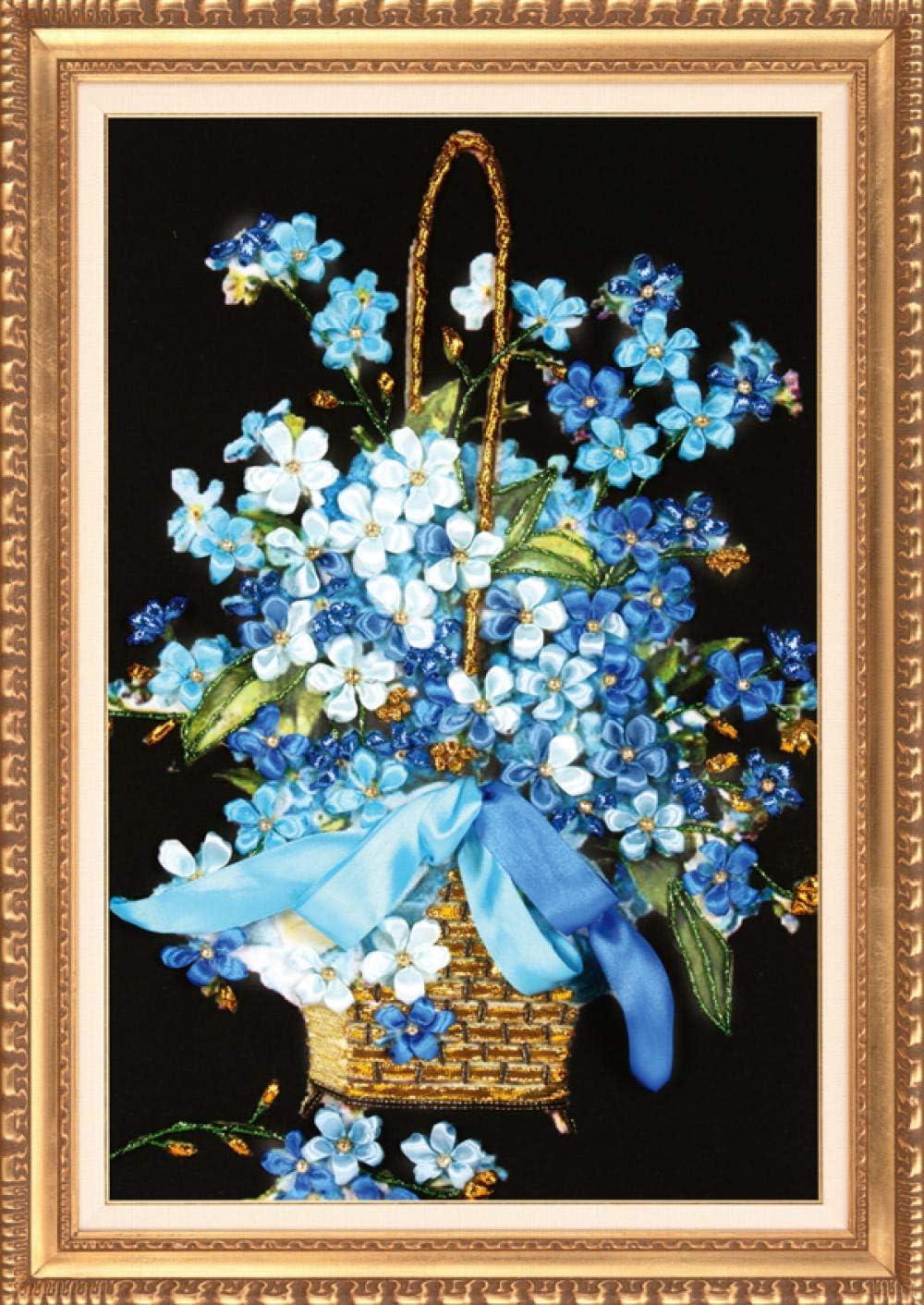 Tampa Mall Cross Stitch specialty shop Needlework DIY Ribbon Blue kit Elegant Embroidery