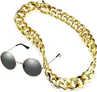 2 Pieces Faux Gold Chain Necklace 90s Punk Style Hip Hop Necklace Costume Choker Chains with Round Sunglasses Suit for Rapper Props (1.4 x 35.4 Inches)
