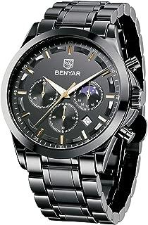 BENYAR - Stylish Wrist Watch for Men, Stainless Steel Strap Watches, Perfect Quartz Movement,...