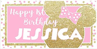 Minnie Pink and Gold Glitter Birthday Banner Personalized Party Decoration Backdrop