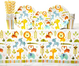 Jungle Safari Theme Party Supplies Straw,Knife Spoon,Invitation Card,Balloons,Cake Topper,Treat Boxes,Banner,Table Cloth 263 Pcs Baby Shower Decorations for Boy Girl with Plate,Napkin,Cup Fork