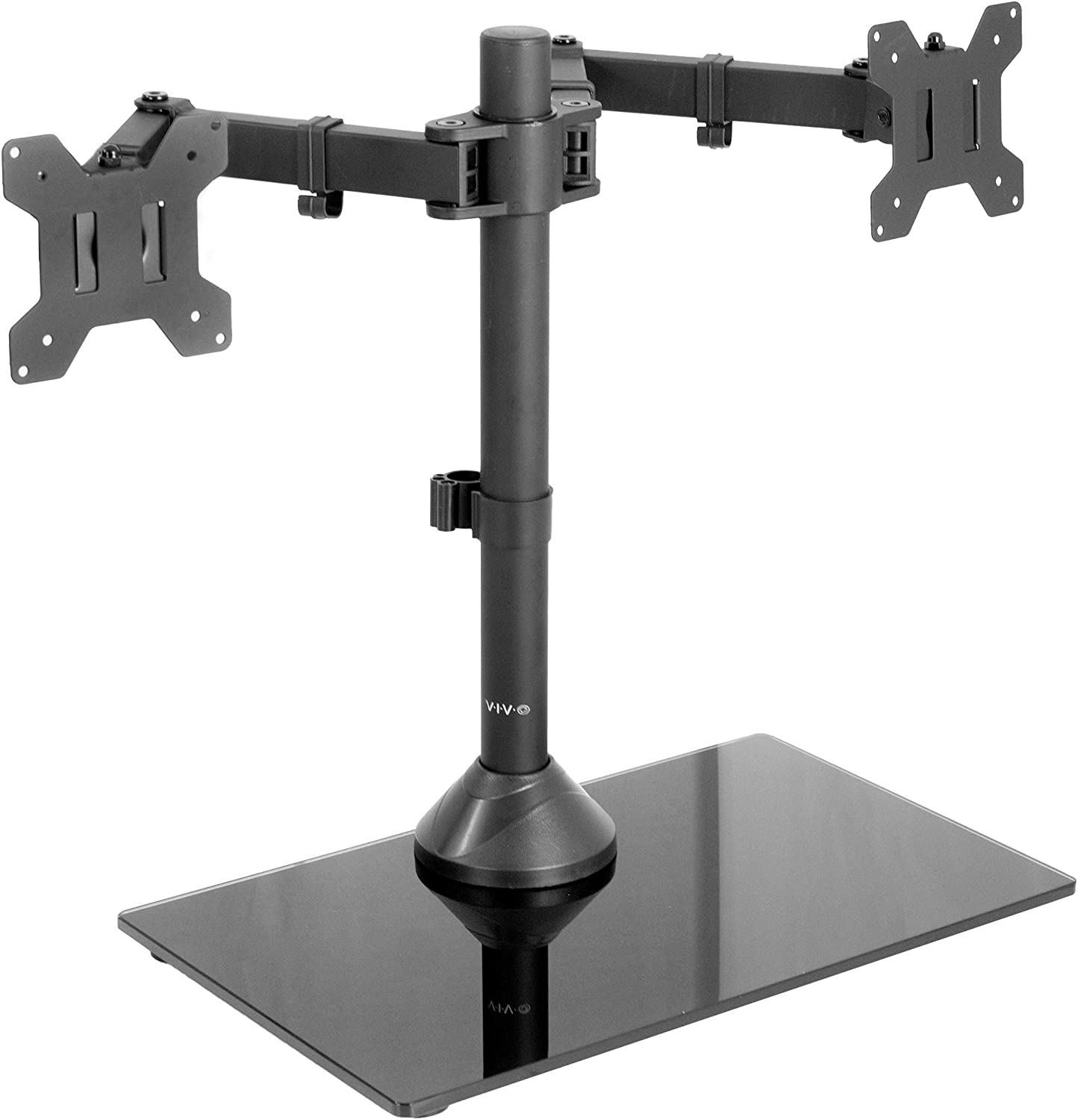 VIVO Freestanding Black Dual Monitor Stand with Sleek Glass Base and Adjustable Arms, Mounts 2 Screens up to 27 inch and 22 lbs Each, STAND-V002FG