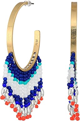 Luna Beaded Drape Fringe Hoops Earrings