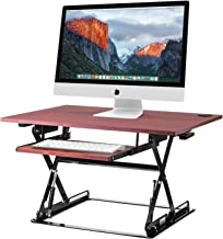 Halte Preassembled Height Adjustable Desk Sit/Stand Elevating Desktop with Built-in Cable Management and Optional Keyboard Tray - Black - New Version (Cherry ED-257)