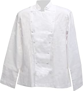 Harvey Williams White Unisex Long Sleeved Chefs Jacket Apparel Poly Cotton Cook Kitchen Work Wear Press Stud Catering Unif...