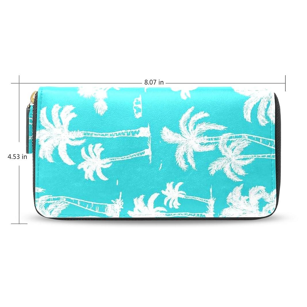 ウェイドもう一度ピアニストレディース抽象Coconut Trees Palm Pattern Long Wallet &財布ケースカードホルダー