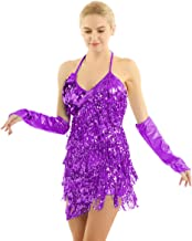 ACSUSS Womens Sexy Sparkling Sequined Tassels Latin Dance Dress with Hand Sleeves