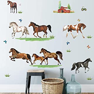 decalmile Farm Animal Wall Decals Horse Wall Stickers Bedroom Living Room Sofa TV Background Wall Decor
